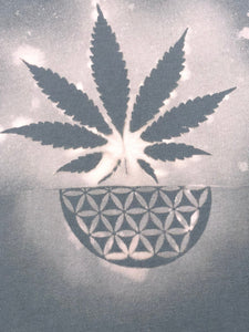 Medium Grey Weed T-shirt Hand Stenciled with Sacred Geometric Designs One of a Kind