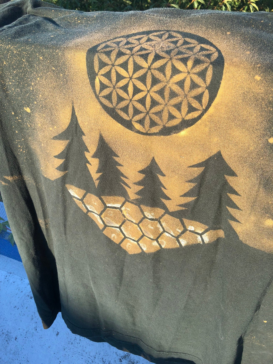 XL Hunter Green Trippy Full moon T-shirt One of a Kind