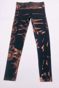 Small Black Chakra Leggings Hand Stenciled and Bleach Dyed with Chakra Symbols One of a Kind
