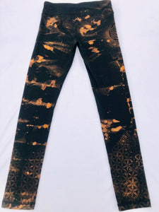 Medium Leggings Hand Stenciled and Bleach Dyed with Shibori Technique One of a Kind