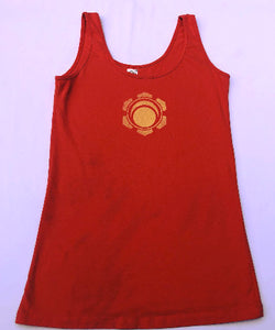 Small Orange tank top Hand Stenciled with Chakra Designs One of a Kind