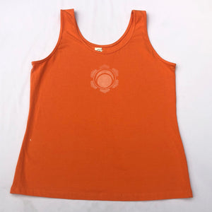 Large Orange tank top Hand Stenciled with Chakra Designs & Flower of Life Mandala One of a Kind