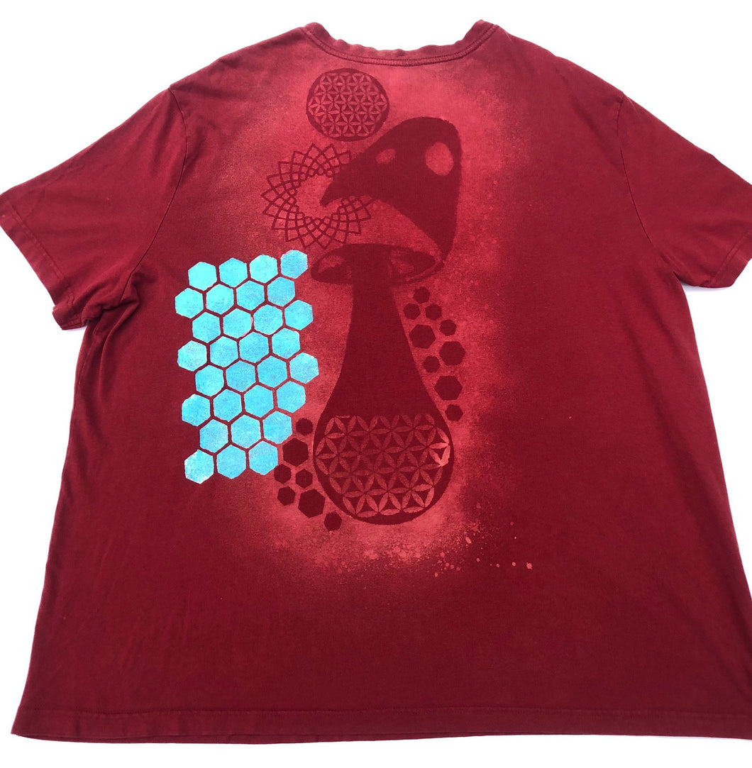 XXL Red Bee T-shirt Hand-designed Artwork One of a Kind