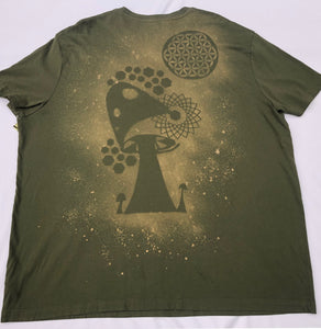 XXXL Hunter Green Trippy Shroom T-shirt One of a Kind