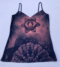 Load image into Gallery viewer, XS Blue/ Pink Tank top Hand Stenciled with Ajna Chakra Design One of a Kind