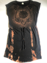 Load image into Gallery viewer, Med Black Lightweight Tunic Dress Shibori Technique Upcycled One of a Kind