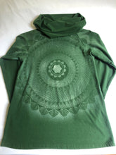 Load image into Gallery viewer, Women's XS Forest Green Long sleeve cowl top Hand Stenciled with Heart Chakra Mandala One of a Kind