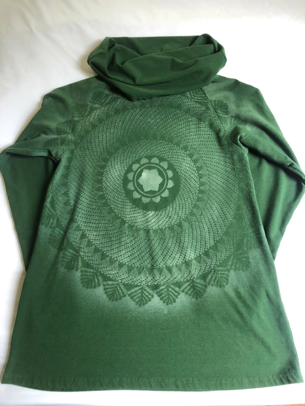 Women's XS Forest Green Long sleeve cowl top Hand Stenciled with Heart Chakra Mandala One of a Kind