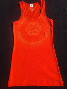 Small Orange tank top Hand Stenciled with Seed of Life Mandala One of a Kind