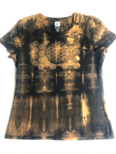 Load image into Gallery viewer, Medium Black T-shirt Hand Stenciled with Sacred Geometric Designs & Shibori Technique One of a Kind