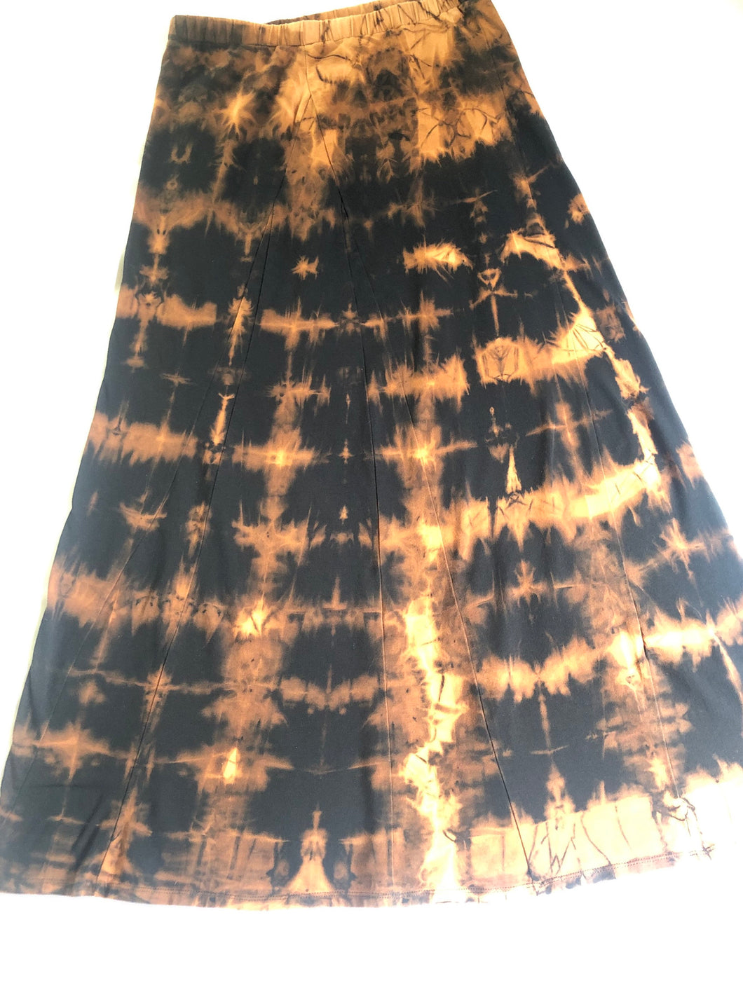 Small Black Maxi Skirt Upcycled with Shibori Technique One of a Kind
