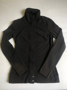 XS Black Zip-up Jacket Hand Stenciled with sacred geometry Designs One of a Kind
