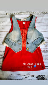 XS Jean Vest Space Bee Design Lace
