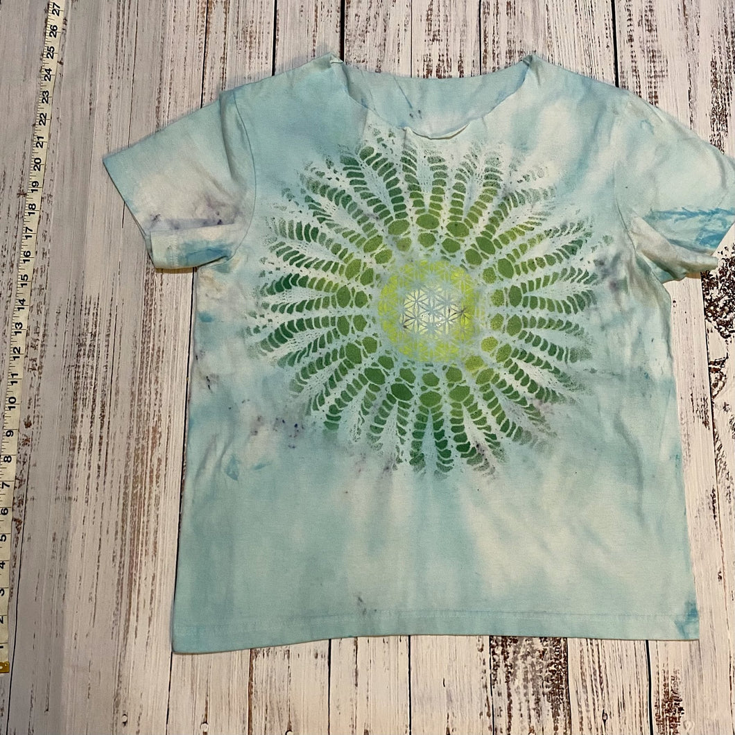 Large Tie Dyed Blue Tshirt with Sacred Geometry Mandala