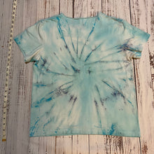 Load image into Gallery viewer, Large Tie Dyed Blue Tshirt with Sacred Geometry Mandala