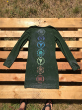 Load image into Gallery viewer, Small Forest Green Chakra Dress Hand Stenciled and Bleach Dyed with Chakra Symbols One of a Kind