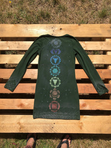 Small Forest Green Chakra Dress Hand Stenciled and Bleach Dyed with Chakra Symbols One of a Kind