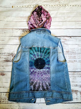 Load image into Gallery viewer, Hooded Jean Vest Sacred geometry design