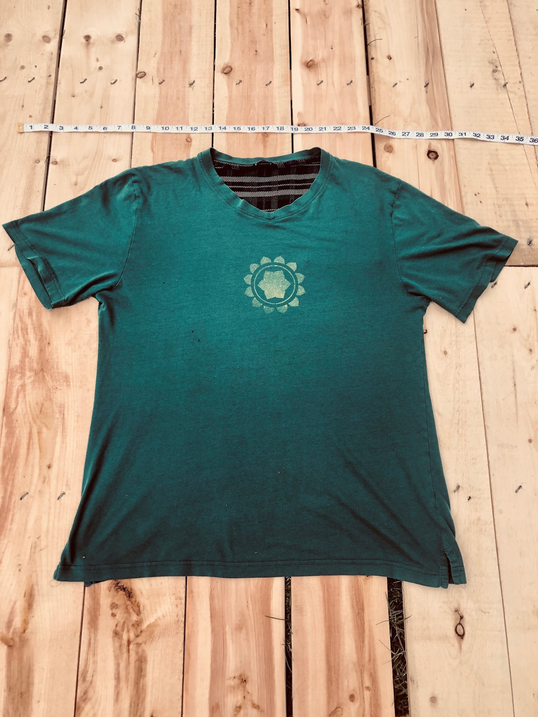 Large Pine Green T-Shirt Heart Chakra Mandala One of a Kind