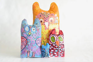 Hand Painted Stuffed Owl Pillows