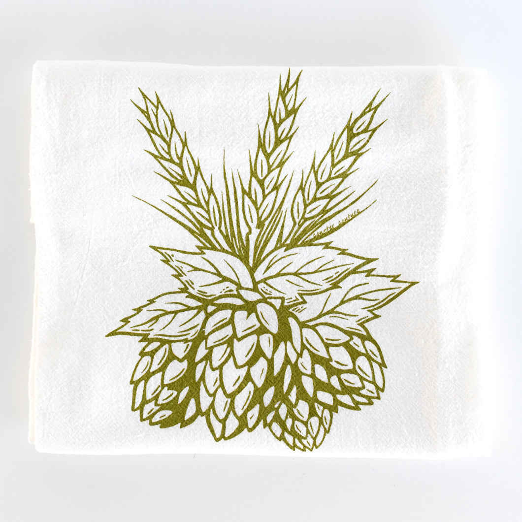 Hops Flour Sack Tea Towel