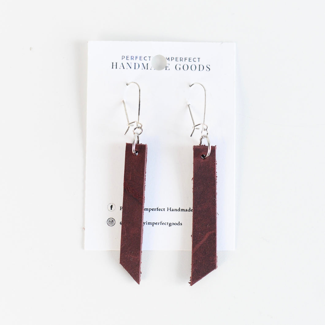 Merlot Linear Leather Earrings