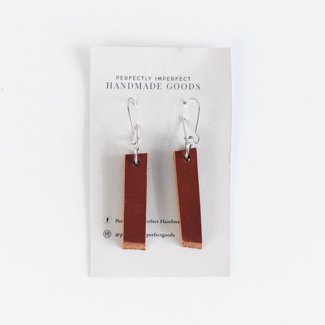 Chunky Linear Leather Earrings