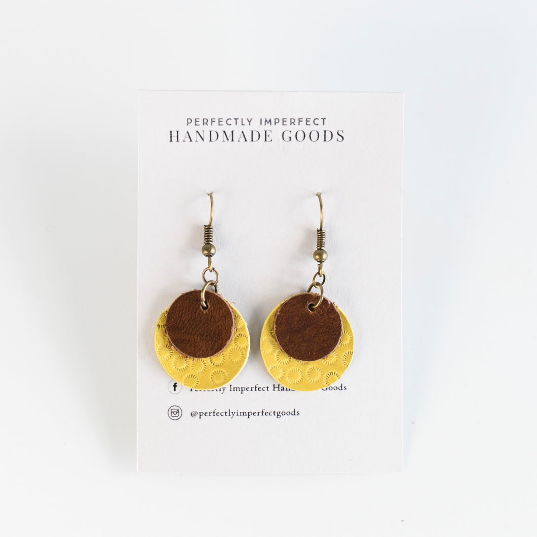 Yellow Brown Layered Leather Earrings