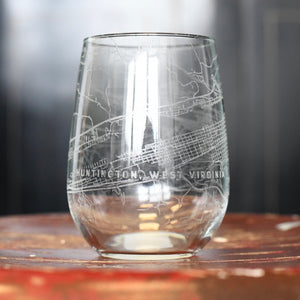 Map Engraved Wine Glass - Huntington, WV