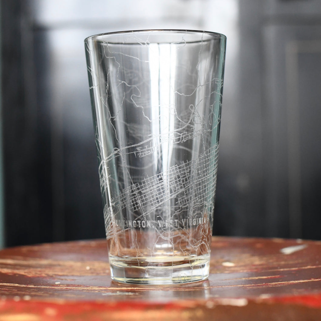 Map Engraved Pint Glass - Huntington, WV