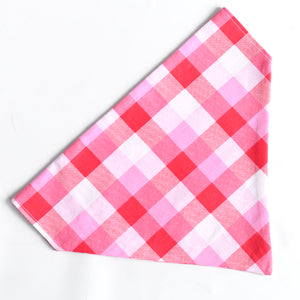 Valentine's Day Plaid Dog Bandana