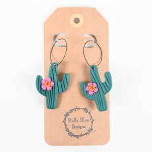 Cactus Polymer Clay Hoop Earring Collection