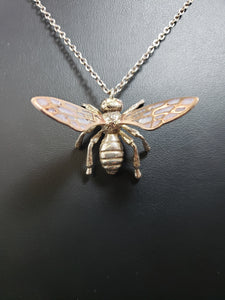 24K gold plated bee pendant with enamel wings