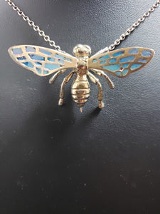 24k gold plated bee pin, with enamel wings