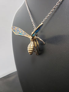 "24K gold plated ""Bee in flight"" pendant with enamel wings"