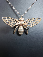 Load image into Gallery viewer, bronze bee pendant with bronze wings