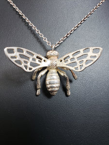 24K gold bee pendant with bronze wings