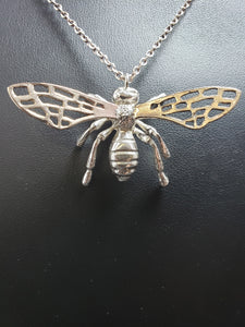 Sterling silver bee pendant with bronze wings