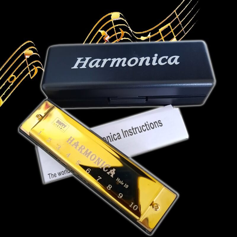 LeLair Professional Golden Harmonica With Case