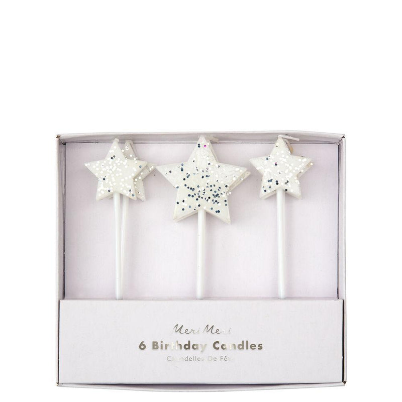 Meri Meri Silver Glitter Star Candles