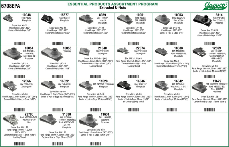 AV6708EPA - Extruded U Nuts Assortment