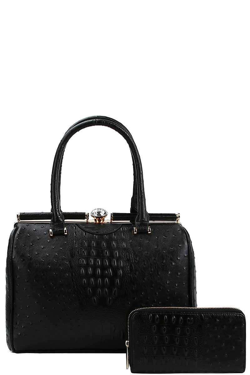 Stylish Croco Pattern Structured Doctor Bag With Matching Wallet - Shopninaruchi