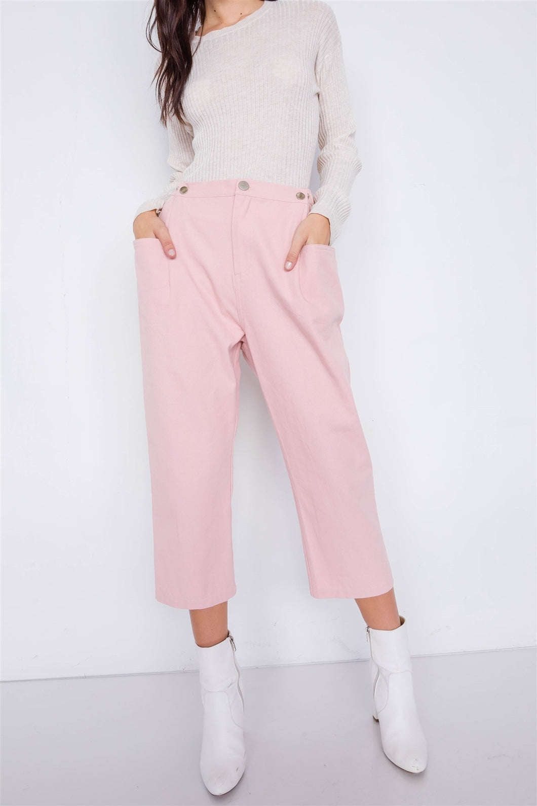 Pastel Chic Solid Ankle Wide Leg Adjustable Snap Waist Pants - Shopninaruchi
