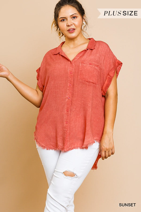 Washed Button Up Short Sleeve Top With Frayed Hemline - Shopninaruchi