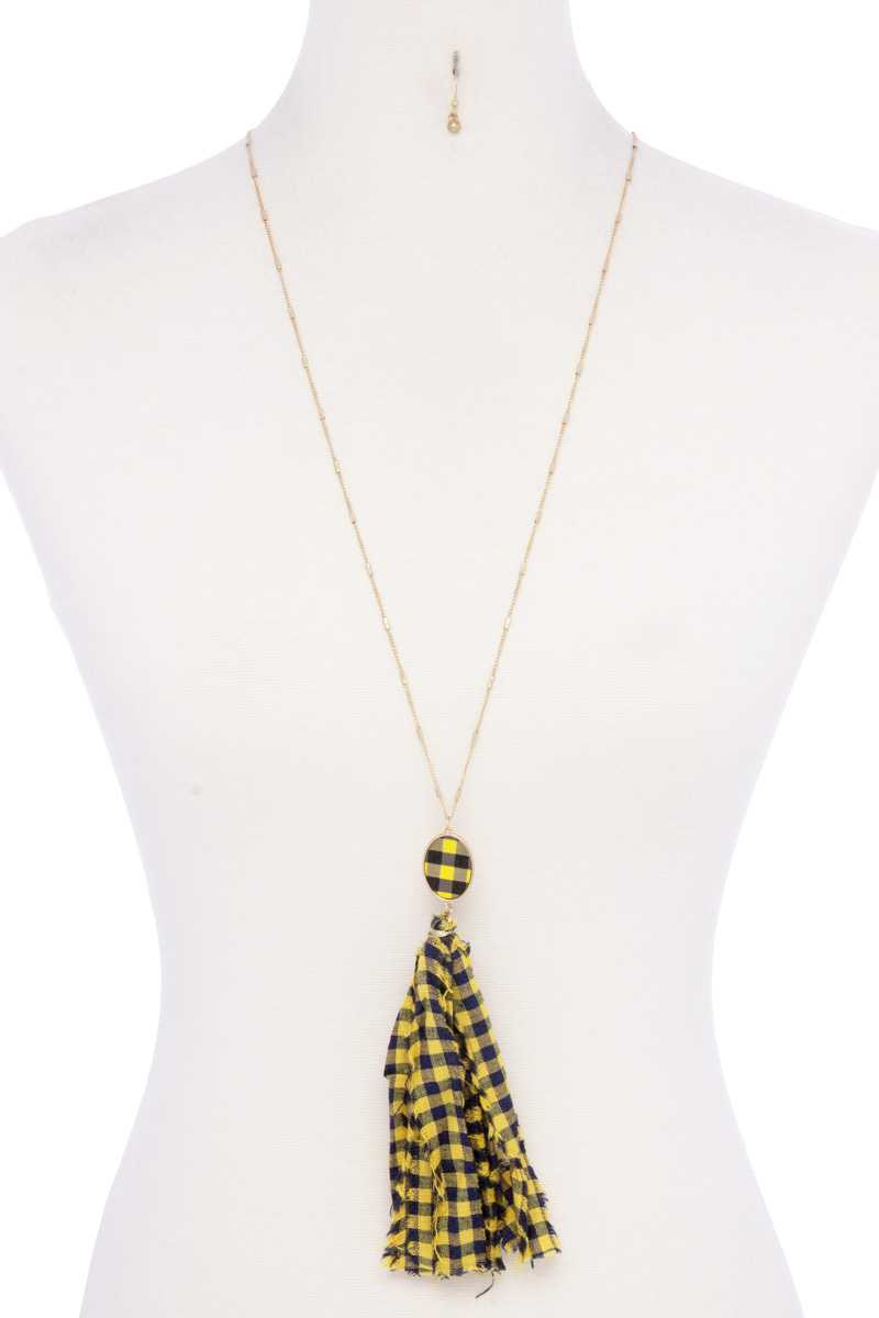 Checkered Pattern Fabric Tassel Necklace - Shopninaruchi