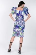 Load image into Gallery viewer, Puff Sleeve Bodycon Print Dress