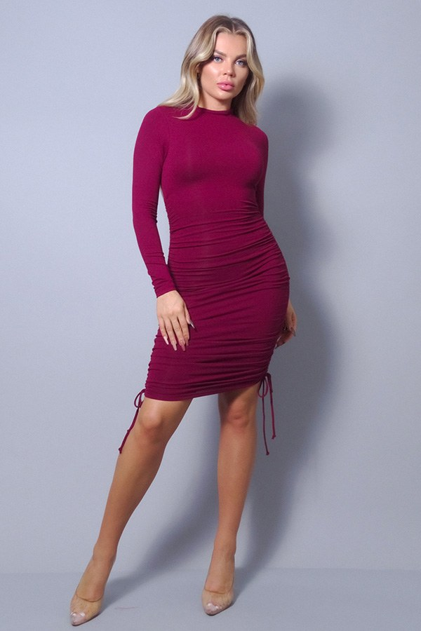 Tina Burgundy Mock Neck Dress