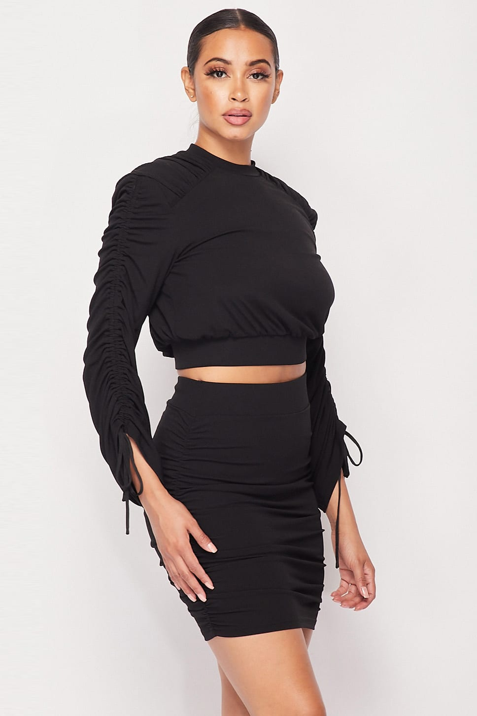 Black Ruched Long Sleeve And Skirt Set - Shopninaruchi