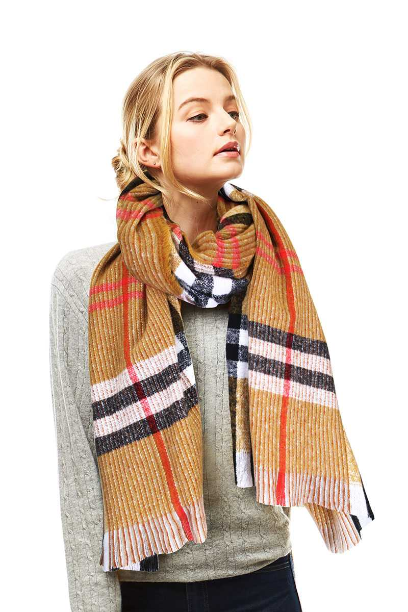 Stylish Plaid Modern Check Scarf