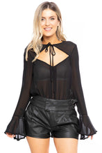 Load image into Gallery viewer, Black Cutout Bell Sleeve Bodysuit - Shopninaruchi